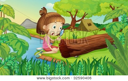 Illustration of girl in the woods with magnifying glass
