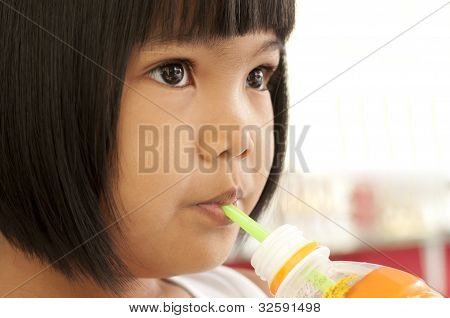 Asian Children Drinking Water