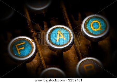 Blue Faq Typewriter Keys