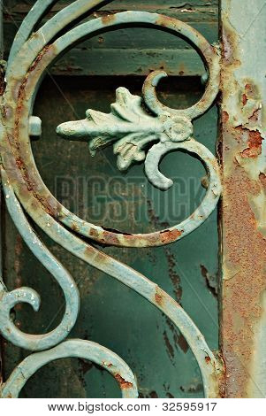 Iron Grill Ornamental Flourish Detail Background