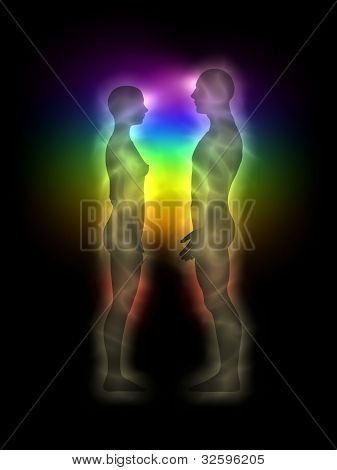 Woman and man energy body, aura, chakras, silhouette