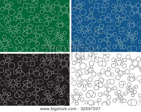 Chemistry Background - Seamless Pattern Molecule Models