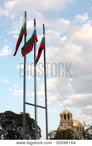 Bulgarian Flags & St. Alexander Nevsky, Sofia