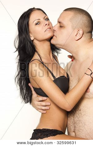 Sexy passion couple on white isolated background