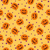 Halloween Pattern. Vector Seamless Background With Cute Smiling Orange Pumpkins, Small Stars Scatter poster
