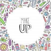 Make Up Hand Drawn Cartoon Doodle Background With Lipstick, Mascara, Powder, Shades, Brush, Handwrit poster