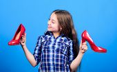 Wish To Grow Up Faster. Every Girl Dreaming About Fashionable High Heels. Shoes Shop. Happy Childhoo poster
