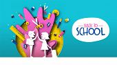 Back To School Card Illustration Of Happy Kid Friends In Papercut Style With Colorful Paper Art Supp poster