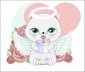 Lovely Cute White Angel Kitten Little Kitten Wifh Gift In Rose. The Picture In Hand Drawing Style, C poster