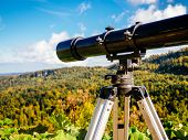 Observation Telescope With An Overview Of The High Mountains With Autumn Trees. Beautiful View Throu poster