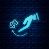 Glowing Neon Human Hand Throwing Game Dice Icon Isolated On Brick Wall Background. Vector Illustrati poster