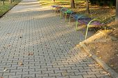 Peaceful Autumn Walkway In The City Park poster