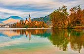 Picturesque Autumn Scenery Of Lake Bled, Slovenia poster