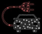 Glowing Mesh Electric Car With Glare Effect. Abstract Illuminated Model Of Electric Car Icon. Shiny  poster
