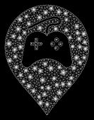 Glowing Mesh Video Games Marker With Glare Effect. Abstract Illuminated Model Of Video Games Marker  poster