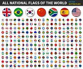 All National Flags Of The World . Convex Button Flag Design . White Isolated Background . Element Ve poster