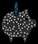 Bright Mesh Piggy Bank With Lightspot Effect. Abstract Illuminated Model Of Piggy Bank Icon. Shiny W poster