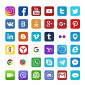 Set Of Popular Social Media Logos: Instagram, Facebook, Twitter, Youtube, Whatsapp, Linkedin, Pinter poster