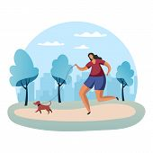 Sportswoman Running With Dog On Lead Or Woman In Park Jogging With Snood. Scamper Of Female Or Outdo poster