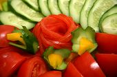 image of risque  - Tomatoes cucumbers and pepper for salad  - JPG