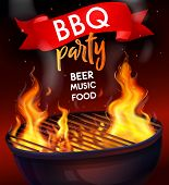 Realistic Fire Flame Bbq Grill Composition With Bbq Party Beer Music Food Headline Vector Illustrati poster