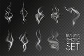 Realistic Smoke Transparent Icon Set White Abstract Object Cigarette Smoke Steam From Coffee Par Exa poster