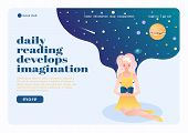 Online Book Club Landing Page Flat Composition With Reading Flower Girl  Imagining Herself In Univer poster