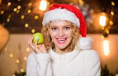 Health Care. Woman Santa Hat Eat Apple Fruit Christmas Decorations Background. Stay Healthy. Diet An poster
