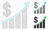 Mesh Sales Trend Model With Triangle Mosaic Icon. Wire Carcass Polygonal Mesh Of Sales Trend. Vector poster