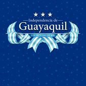 Independence De Guayaquil Greeting Card - Guayaquils Independence In Spanish Language - Title On A  poster