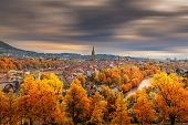 Cityscape Historical Architecture Building Of Bern At Autumn Season, Switzerland, Capital City Lands poster