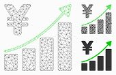 Mesh Yen Growth Trend Model With Triangle Mosaic Icon. Wire Carcass Polygonal Mesh Of Yen Growth Tre poster