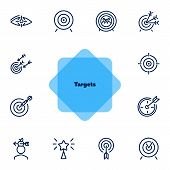 Targets Line Icon Set. Accomplished Goal, Archery Range, Award Winning. Goal Concept. Can Be Used Fo poster