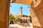 Old Dubai. Traditional Arabic Streets In Historical Al Fahidi District, Al Bastakiya Mosque. Dubai,  poster