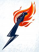Electric Guitar Headstock On Fire In A Shape Of Lightning, Hot Rock Music Guitar In Flames And Bolt, poster
