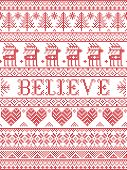Believe Christmas Vector Pattern With Scandinavian Nordic Festive Winter Pattern In Cross Stitch Wit poster