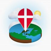 Isometric Round Map Of Denmark And Point Marker With Flag Of Denmark. Cloud And Sun On Background. I poster