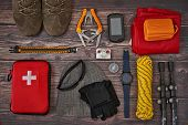 Hiking Equipment Tidy To Put It In The Backpack. Knolling Hiking poster