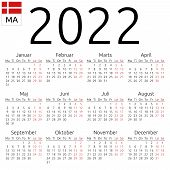 Simple Annual 2022 Year Wall Calendar. Danish Language. Week Starts On Monday. Saturday And Sunday H poster