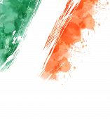 Watercolor Background With Paint Splashes In Ireland Flag Colors. Template Background For Irish Nati poster