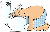 stock photo of puke  - This illustration depicts a nauseated man in underwear resting his head on a toilet bowl - JPG