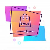 Purple Shoping Bag With An Inscription Sale Icon Isolated On White Background. Handbag Sign. Woman B poster