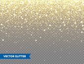 Sparkling Golden Glitter On Transparent Vector Background. Falling Shiny Confetti With Gold Shards.  poster