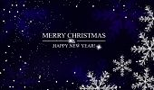 Christmas And New Year Navy Blue Background With Silver Snowflakes. Xmas Decoration. Template For Gr poster