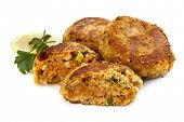 stock photo of patty-cake  - Salmon fishcakes or patties - JPG