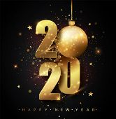 Happy New 2020 Year. Holiday Vector Illustration Of Golden Metallic Numbers 2020. Gold Numbers Desig poster