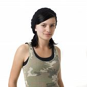 Girl In Army Shirt Smile