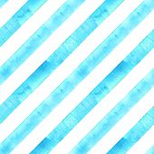 Watercolor Teal Blue Turquoise Diagonal Stripes On White Background. Striped Seamless Pattern. Water poster