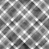 Watercolor Diagonal Stripe Plaid Seamless Texture. Black Gray Stripes On White Background. Watercolo poster