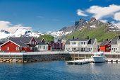Svolvaer, Lofoten Islands,   Fjord and Red Norwegian Rorbu, Norway poster